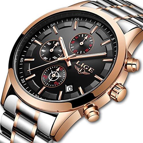 Lige, orologio da uomo in acciaio inox, impermeabile, sportivo, analogico, al quarzo, casual,...