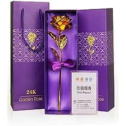 INDIGOCREATIVES Plastic 24K Gold Rose 10 Inch with Box (Multicolour)