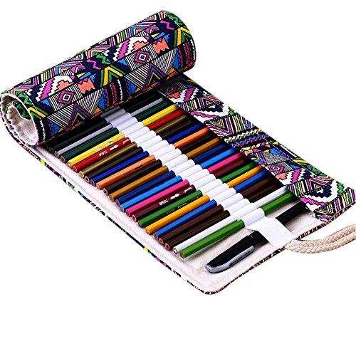 Astuccio Arrotolabile in Tela per 72 Matite Colorate Handi Stitch - Ideale per Artisti/...