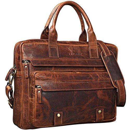 STILORD 'Leander' Bolsa de Negocios o maletín para portátil de 15.6'' Bolso de Piel para Trabajo de Hombres y Mujeres Bolsa Mensajero de Cuero auténtico, Color:Kara - Cognac