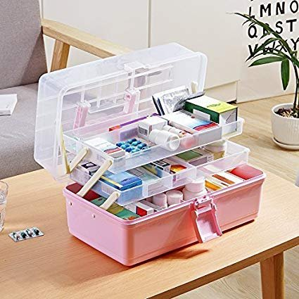 Getko 3 Layers Portable Medicine Storage Box Organizer With Compartments With Clear Cover