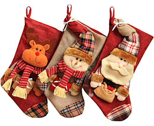 Shmily Girl Christmas Stockings 3 Pcs Set Big size Classic Toys Stockings