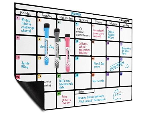 Calendario magnetico A3 magnetica cancellabile a secco - Lavagna planning mensile di Plan Smart -...