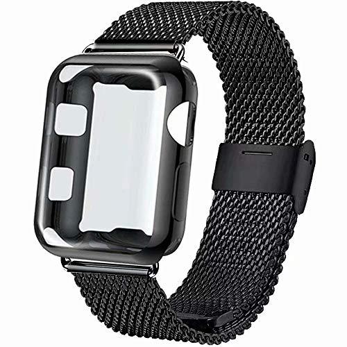 INZAKI Correa con Funda para Apple Watch 44mm, Malla de Acero Inoxidable Correa de Bucle con Protector Pantalla para iWatch Serie 4, Sport, Edition,Negro