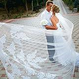 Simple Couche de Mariage Voile Lianshi Mariée Voile Dentelle Broderie Fournitures de Mariée 3 m(Blanc)