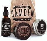 Camden Barbershop Company: Ensemble cadeau pour hommes, kit/coffret d'entretien et de soin pour barbe deluxe, comprenant brosse pour barbe en bois de noyer, huile et baume pour barbe