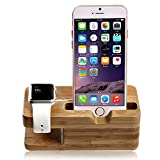 lamavido® Compatible for Apple Watch Stand iWatch Bamboo Wood Charging Dock Charge Station Stock Cradle Holder Compatible for Apple Watch iWatch series 1& 2 3 4 Both 38mm and 42mm & Compatible for iPhone 6 /6 plus /5S/ 5 / 7/ 7 Plus