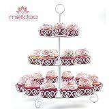 Melidoo Stand Base para 24 cupcake muffin postres 3-niveles | Soporte en Metal Blanco, Vintage | Ideal para fiestas de cumpleaños de niños, bodas, bautizos, cumpleaños, baby showers [incluye un eBook] a un precio de lanzamiento