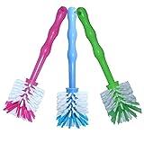 3er Pack Mixtopf Spülbürste mit Nylonborsten - ideal zum Reinigen von Mixtöpfen wie z.B. Thermomix ® TM5/TM31 und Mixtöpfe anderer Hersteller - je 1x in Blau/Grün/Pink