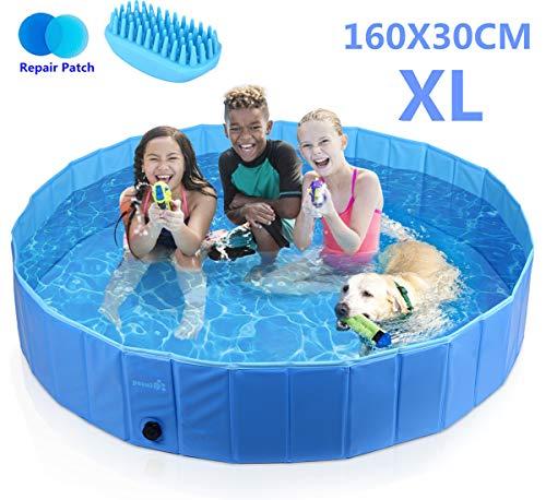 Pecute Hundepool Schwimmbad Für Hunde und Katzen Swimmingpool Hund Planschbecken Hundebadewanne Faltbarer Pool Für Kinder Den Hund Katze Geschenk - Haustier Badebürste L (160*30cm)