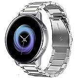 @ccessory 20mm Acero Inoxidable instalación rápida Correa de Reloj Pulsera para Samsung Galaxy Watch Active 2019 Garmin Vivoactive 3 (Plata)