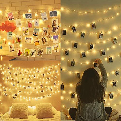Amteker Catena Luminosa, 10M 100 LED Luci Decorative, Immagine Attaccatura e Decorazione Tabella...