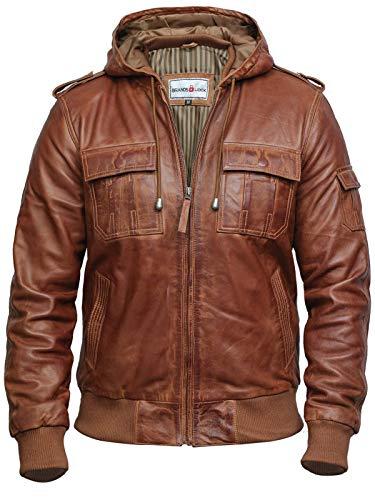 BRANDSLOCK Uomo Vera Pelle Biker Giacca Vintage Cappuccio (X-Large (Fits Chest: 40-42'), Marrone Scuro)