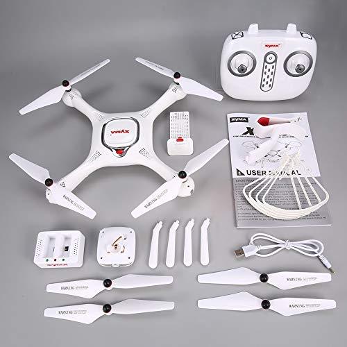 HermosaUKnight Syma X25PRO RC FPV Quadcopter Drone 720P HD WiFi Adjustable Camera GPS-White(USB)