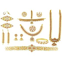 UG Products Complete Set Bharatanatyam Jewellery with All The 10 Separate Ornaments Made with Green and Red Quality Kemp Stones (S30)
