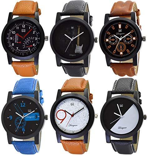 Om Designer Analogue Multi Colour Dial Men's & Boy's Watch Combo Pack of 6 (Mi-29125897)