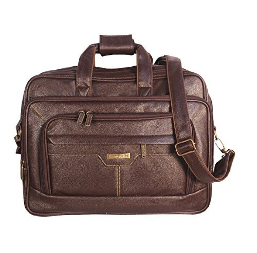 Handcuffs 17 inch Laptop Bag, Business Travel Bag, Expandable Large Shoulder Bag, Water Resisatant Business Messenger Briefcases for Men Fits 17 Inch Laptop, Computer, Tablet (Brown)