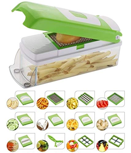 NOVEL Vegetable & Fruit Chipser With 11 Blades + 1 peeler inside, vegetable chopper, vegetable slicer, (GREEN)