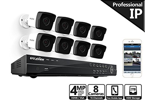 LaView 4-Megapixel (2688 x 1520) 8 Channel PoE 4K NVR Security Camera System - 8 Camera Security Camera System - 8 4MP Bullet IP Surveillance Cameras, 100ft Night Vision, Pre-Installed 2TB Hard Drive