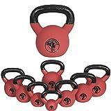 Gorilla Sports Kettlebell Red Rubber,  in Ghisa, Rivestimento in Neoprene, Colore Rosso