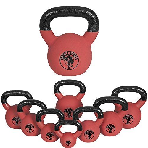 Gorilla Sports Kettlebell Red Rubber,  in Ghisa, Rivestimento in Neoprene, Colore Rosso. Pezzo 24 kg