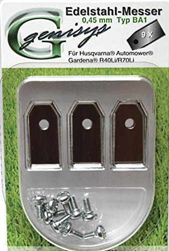 Repuesto Cuchilla Cuchillas para Husqvarna Automower / Gardena Lawn mower + Tornillo NUEVO ( LongLife TITAN / acero inox. 0,75mm / 0,45mm 9-90 Stk # La muy grande Selección - Acero Inox. (0.45mm), 9
