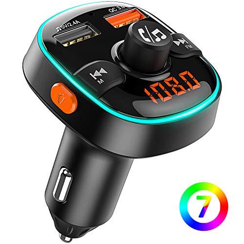 Bovon Trasmettitore Bluetooth per Auto, 7 Colori Controluce con Modalità Gradiente, FM Transmitter...