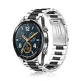 Fintie Correa para Huawei Watch GT 2/Huawei Watch GT Sport/Fashion/Active/Elegant - 22mm Pulsera de Repuesto de Acero Inoxidable Banda Ajustable de Metal [Liberación Rápida], Negro+Plateado