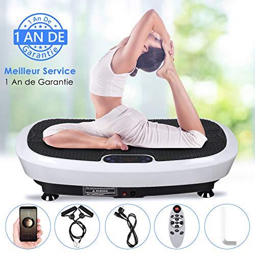 EVOLAND Plateforme Vibrante Oscillante à 2 Moteurs 3D+180 Niveaux+5 Programmes, Ecran Tactile avec Télécommande, Haut-parleurs Bluetooth, Appareil de Massage Perte de Poids, 150KG Capacité