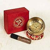 Bol Chantant Tibétain Fait Main au Népal 450g Original Ancien 7 Métaux Excellente Son Fuseau en Palissandre Coussin de l'Himalaya Set Box de Papier Cadeau Parfait