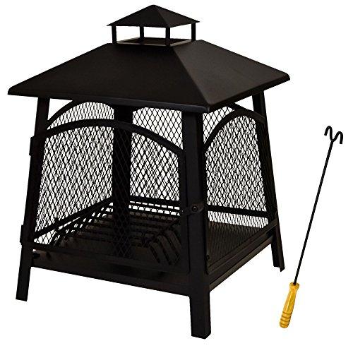 east2eden-Black-Steel-45x45cm-Patio-Outdoor-Heater-Garden-Firepit-Fire-Pit-Chimenea-with-Poker