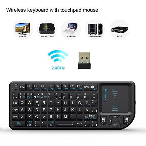 51ScP3RBMAL - Rii Mini X1 teclado inalámbrico con ratón táctil - compatible con Smart TV, Mini PC Android, PlayStation, Xbox, HTPC, PC, Raspberry Pi