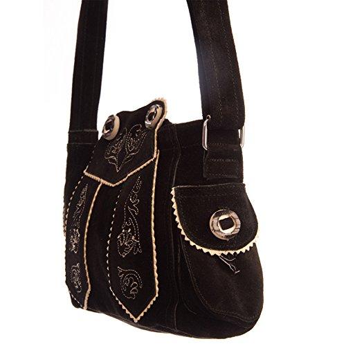 Almbock Trachten-Tasche Betti in schwarz - für Damen, modern, für Hochzeit oder Oktoberfest kaufen, in Lederhosen-Design aus Rinds-Leder - 4