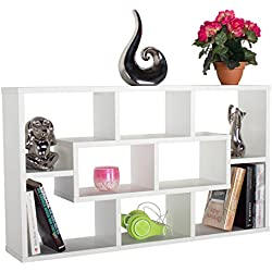 RICOO Wandregal Hängeregal Regal Ablage Schweberegal WM050W Bücherregal Wandboard Standregal Organizer Lowboard Möbel Rack / Holz Weiß