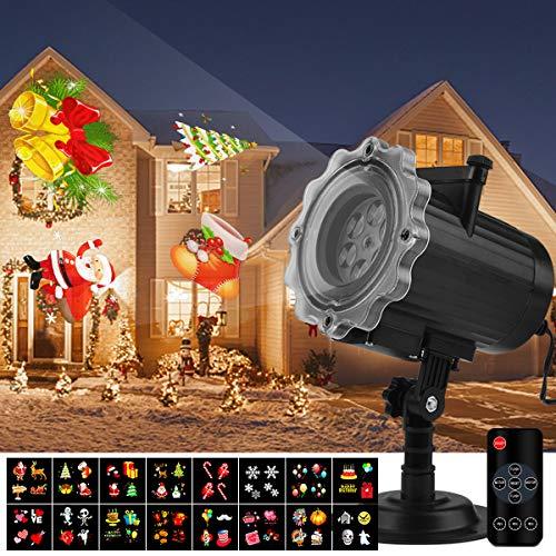 Proiettore Luci Natale Qomolo Proiettore Lampada LED 16 Diapositive con Telecomando, per...