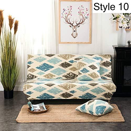 Monba, copertura elasticizzata per divano senza braccioli e divano letto, fodera protettiva con motivo floreale, Poliestere, Style 10, L:160-190cm
