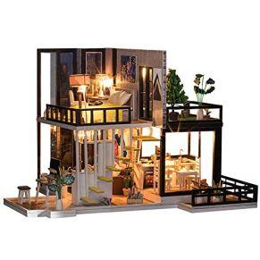GSC-home Madera casa de muñecas DIY habitación Miniatura Set-Woodcraft Construction Kit-Madera de Edificio Modelo Set…