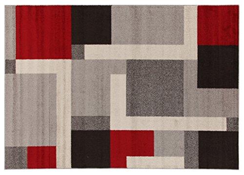 Viva Tappeti Casa Riquadri Tappeto, Materiale Sintetico, Multicolore, 160x230x3.68 cm