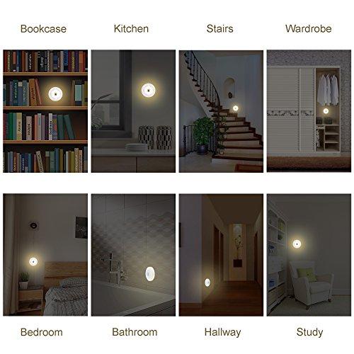 SYCEES LED Set di 3 Luci Notturne con Interruttore a Pressione e Intensità regolabile Ideale per...