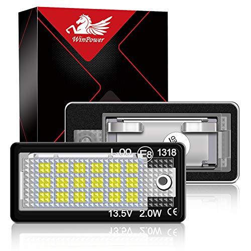 WinPower LED Luci targa per auto Lampada targa 3582 SMD con CanBus nessun errore 6000K Xeno Bianco freddo per per A3/S3/A4/S4/RS4/A6/C6/S6/RS6/A8/S8/Q7 ecc, 2 Pezzi