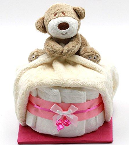 """Windeltorte\""""Schnuffi-Bär\"""" rosa mit Schnuffeltuch Bärchen für Mädchen - Geschenk zur Geburt + gratis Glückwunschkarte"""