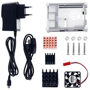 51T%2BPrglWVL - Zacro 5-EN-1 Kit para Raspberry Pi 3 y 2, Caja de 9 Capas de Refrigeración + Mini Fan con 4 Tornillos+ USB Cable Encendido + 3 Disipador de Calor + USB Cable Cargador
