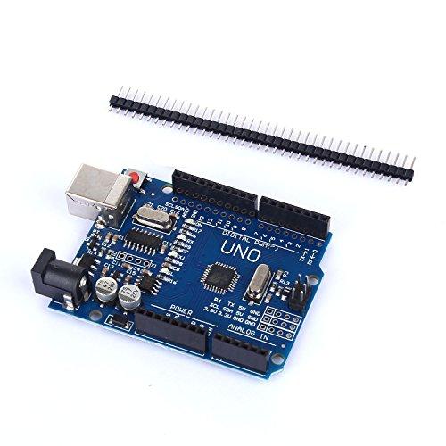 51T eh4rDJL - tinxi® La nueva versión del UNO R3 de ATmega328P CH340 para Arduino + cable USB