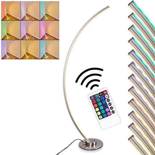 LED Stehlampe Scar, dimmbare Stehleuchte aus Metall in Nickel-matt, 1 x 14,5 Watt, 2200 Lumen, Lichtfarbe 3000 Kelvin (warmweiß), Standleuchte mit RGB Farbwechsler und Fernbedienung