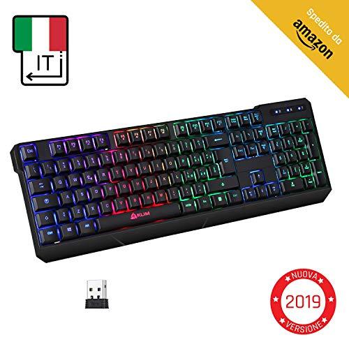 KLIMTM Chroma Tastiera Wireless Italiana - Sottile, Resistente, Ergonomica + Tastiera Gaming...