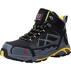 LARNMERN Chaussures de Travail pour Homme,LM-1702 Antidérapante Embout Acier Semelle Anti-Perforation Acier Chaussures de Sécurité - Gris - 42 EU