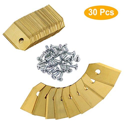 Zaeel Titanio Hoja De Repuesto para cortacéspedes Husqvarna, 30 Cuchillas de repuesto para Gardena cortacéspedes, con tornillos