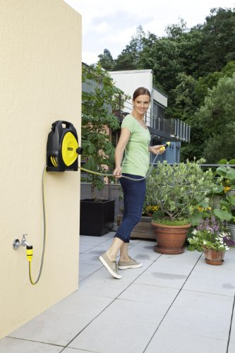The Karcher CR3 110 Compact Hose Box is designed for watering small gardens or in small spaces, and comes with a 8mm diameter micro hose, which helps keep it compact and light weight.