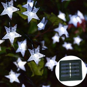Solaires Étoile Lumières,KINGCOO Étanche 23FT 50LED Solaire Étoile Twinkle Guirlande Lumineuse pour Décoration Extérieure Jardin Mariage Maison Fête Noël d'éclairage Décoration