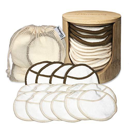 Abschminkpads Waschbar · 16 wiederverwendbare Bio-Bambus & Baumwolle Wattepads mit Bambuskörbchen und Wäschesack · wiederverwendbare Make-up-Entferner-Pads · Umweltfreundlich/Zero Waste